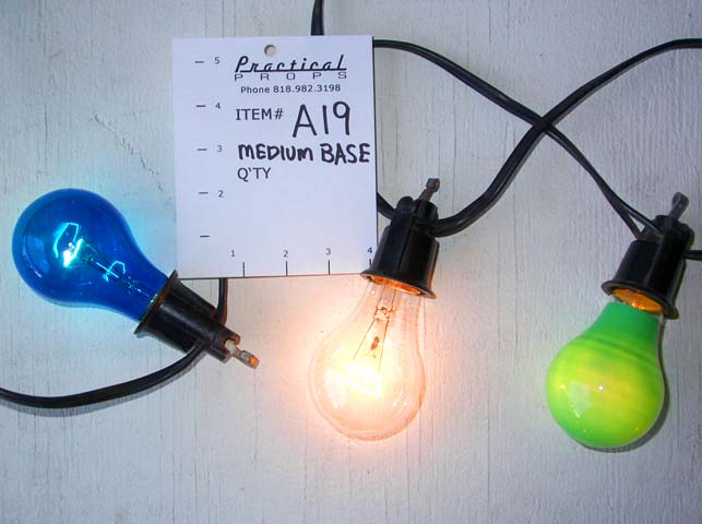 ... medium base and A19. Size 25 watt clear or color bulbs are typical